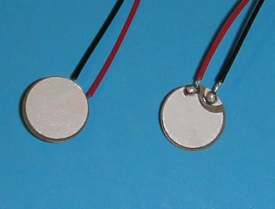 Picture of PZT Ceramic Disc  10x0.4mm R 5 MHz Wire Leads